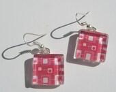 Pink Earrings, Pink Glass Dangle Earrings, Bright Pink Earrings, Pink Summer Earrings, Retro Mid Century Modern Print Earrings