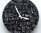 Wall clock. Math equations.  Black and white.