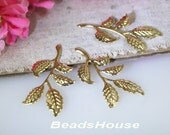 4pcs - (20 x 40 mm) Golden Plated Branch Leaves Filigree ,Nickel Free