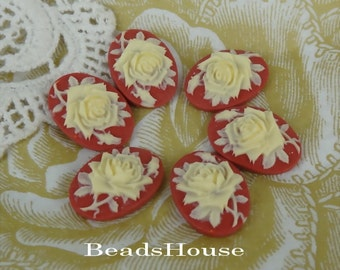 90s-IV-CA 6pcs(13x18 mm) Beautiful Oval Rose Cameo- Ivory on Red
