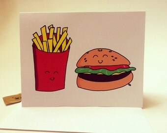 Hamburger and Fries Card, I Love Us Together, Anniversary Card, doodle made on recycled paper, comes with envelope and seal