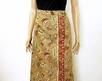 1980s Skirt / Vintage 80s Mock Wrap Woodland Florals Unworn Midi Skirt / Large