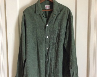 Vintage 1950's Rockabilly Mens Loop Shirt size Large Tall Paisley Patterned Green Cotton Flannel