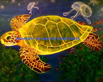 This Sea Turtle Painting was created in honor of the Karen Beasley Sea Turtle Rescue Hospital in NC