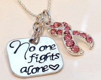 Hand Stamped Breast Cancer Jewelry-Cancer-Breast Cancer Awareness necklace-Leukemia-lymphoma cancer-cancer awareness necklace