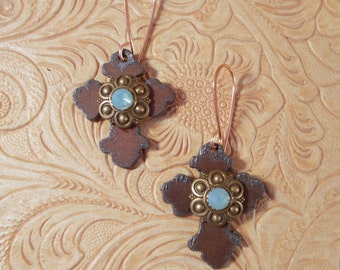 Western Christian Cowgirl Cross Earrings with Pacific Opal Swarovski Crystal and Copper Ear Wires