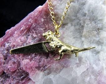 Dinosaw Necklace - Brass