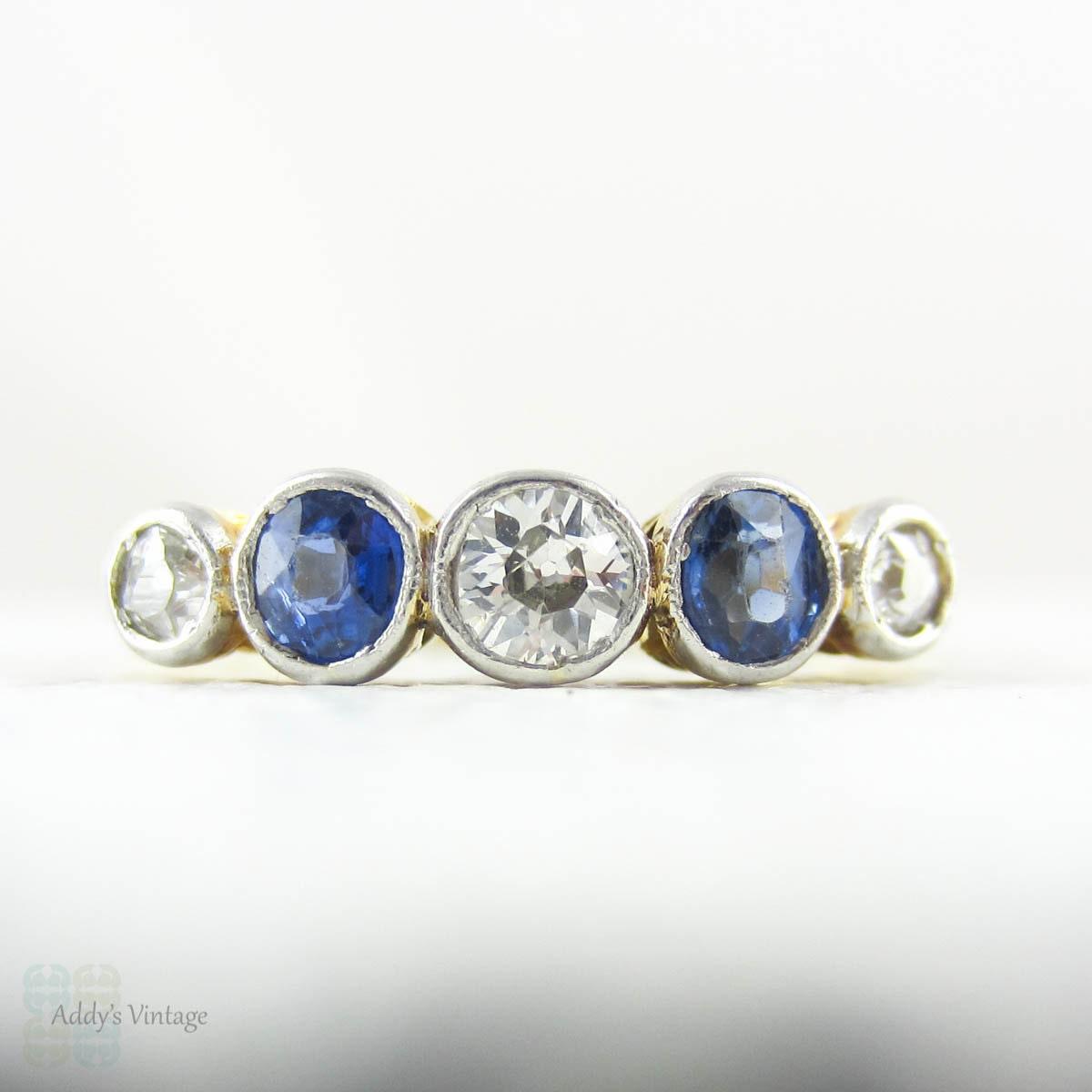 Edwardian Sapphire Amp Diamond Bezel Set Five Stone Ring Old
