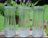 Set of Three Large Clear Glass Decorative Vases, Wedding Vases, Centerpieces, Table Decor