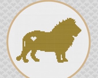 Lion Silhouette Cross Stitch PDF Pattern