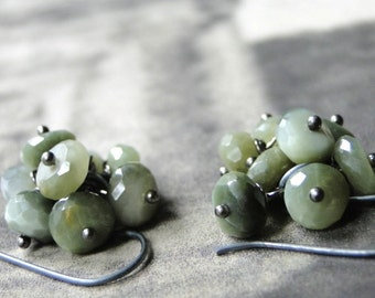 Cluster Cat's Eye Sterling Silver Dangle Earrings, Gemstone Earrings, Gift for Her, Accessories, Statement Earrings, Gift Box