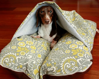 BUNBED w/ COVER Burrow Snuggle Sack Pocket Bed, Modern Gray Yellow Floral, Gray Fleece, Bunbed Dachshund Dog Bed, Dachshund Bed, Dog Bed