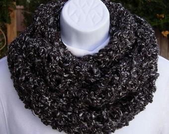 Gray INFINITY SCARF, Grey Loop Scarf, Gray Black Cowl, Dark Gray Scarf, Extra Long Scarf, Soft Crochet Scarf, Winter Knit Scarf, Bulky Scarf