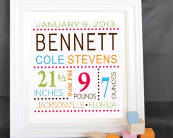 Personalized Custom Birth Print baby print - Blue/brown -with your baby Name Wall decoration for nursery or playroom free shipping