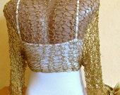 Effect Gold Wedding Bolero, Knit Gold Shrugs, Woman Bridal Bolero