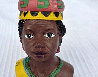 Tribal African Woman Figurine Home and Garden Home Decor Collectibles Black Memorabilia Black Americana Figurines