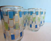 Vintage Gold Rimmed Glassware - Blue Green Frosted Glass - Drinking Glasses - Retro Tumblers - Set of 8