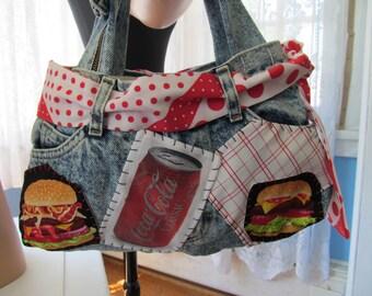 Coke Denim Women Purse Vintage Stonewash Jeans Fun Bag Tote Shoulder Bag Coca Cola Cheeseburger Pizza Patches