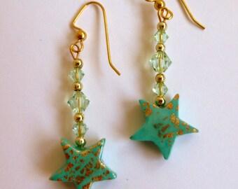 Star Dangly Earrings Star Drop Earrings Mint Green Star Dangly Earrings Mint Green Star Dangly Earrings Polymer Clay Earrings