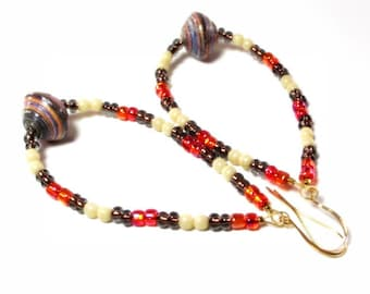 Earrings - Autumn Joy - Orange, Brown and Cream Beaded Hoop Earrings
