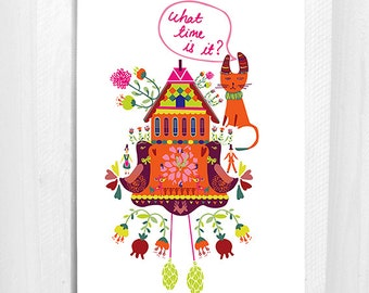 What Time Is It, Greeting Cards, Cat, Folksy, 5x7