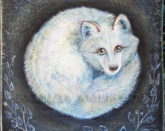 "Art Block handpainted - 4.5x4.5"" - on Wood - White fox -arctic fox - Foxy - ORIGINAL Painting collectible"