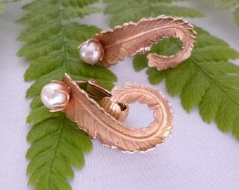 Fern Leaf Pearl Clip On Earrings