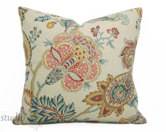 Jacobean Floral Pillow Cover - 20X20 - Paisley pillow - botanical - large scale floral - jacobean - bohemian