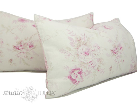 Set of Two Shabby Chic Lumbar Pillow Cover pink floral