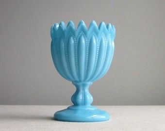 Turquoise Blue Milk Glass Vase Portieux Vallerysthal - Footed Bowl Goblet Form - Ribbed Gothic Arch Crown Top - Larger