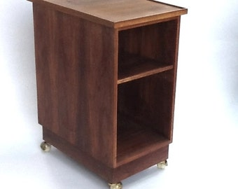 Vintage Teak Bar Cart / Tall Side Cabinet