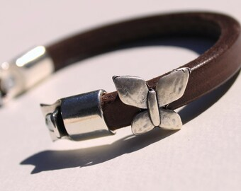 Brown Licorice Leather Bangle Bracelet with Silver Butterfly and Magnetic Closure