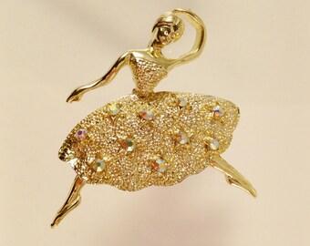 Ballerina Rhinestones Brooch, Vintage Jewelry, Ballet Pin, Dancer Brooch, Aurora Borealis Vintage Brooch, Ballet Jewelry, Recital Gift