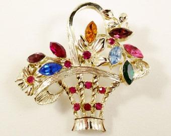 My Fair Lady Style Flower Basket Brooch, Vintage Jewelry, Rhinestone Jewelry, Rhinestone Brooch Pin, Flower Jewelry, Vintage Floral Brooch
