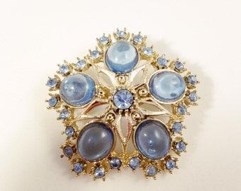 BLUE RHINESTONE & LUCITE Brooch Pin - Vintage Rhinestone Pin - Blue Lucite Cabochons -Snowflake Brooch - Star Brooch - Vintage Brooch