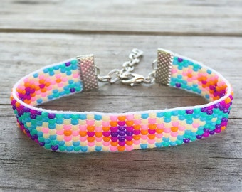 Cotton Candy Colored Handmade Beaded Bracelet
