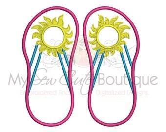 Flip Flops Summer Applique Design - 6 Sizes - Instant Download