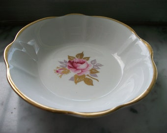 Sutherland Bone China, Made in England Round Pink Rose Dish