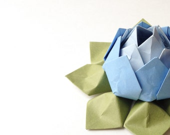 Origami Lotus Flower - Handmade Flower - Paper Flower - Cornflower, Bluebell and Moss Green - Gift, Decoration or Favor