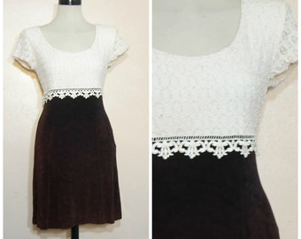 90s Grunge Lace Dress Burgundy Medium Large Empire Waist Skater Dress