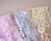 Neutral lace headbands Lacy hair bands stretchy lace headband wide headband women adult headband boho scalloped edge tapered back set of 3