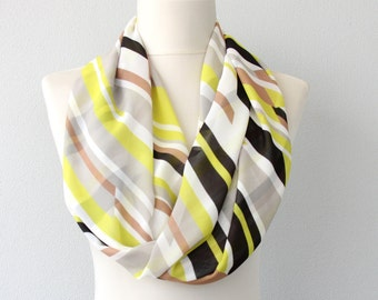 Summer infinity scarf yellow and black striped scarf chiffon scarves for women abstract loop scarf geometric circle scarf lightweight scarf