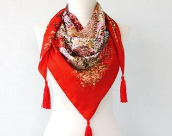 Boho tassel scarf summer scarves coachella fashion scarf floral scarf red scarf boho chic scarf bohemian style bandana scarf / TULIPS /