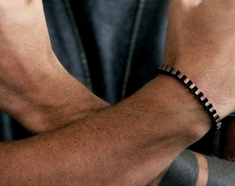 Cool Mens Bracelet Chain Antique Oxidized Finish Jewelry