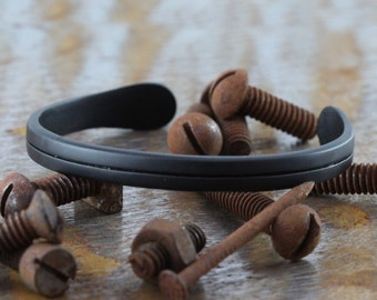 Mens Matte Black Cuff Personalized Jewelry Line Bracelet