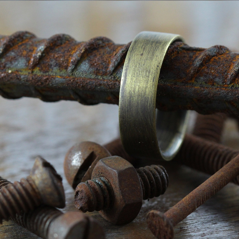 Mens Wedding Band Gold Oxidized Brass Plain Rings