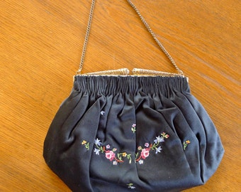 lovely vintage black satin embroidered evening bag from Paris 1950s