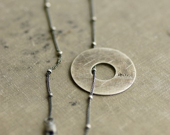 Distressed Sterling Disc on Beaded Chain - Antique - Oxidized - Stamped