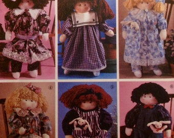 Sewing Pattern Dressed Dolls Country Style Uncut 1991 Dresses Pantaloona Overalls Shirt Toy Bunny Abbie's Jiffy 6 Pack