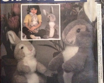 "Vintage Sewing Pattern Stuffed Bunny Rabbits 15-1/2"" and 12"" Plush Toys  1984"
